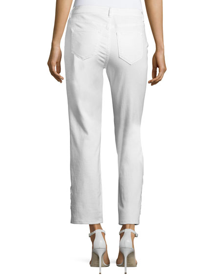 Kiana Ankle Jeans w/ Beaded Lace Cuffs, White