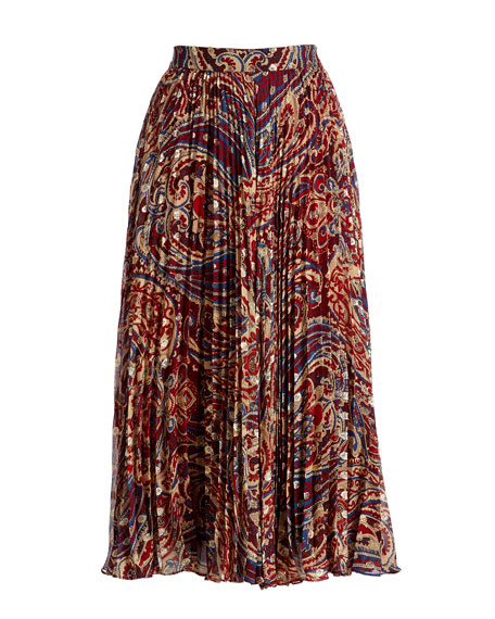 Silk Sunburst Flare Midi Skirt, Kennedy Metallic