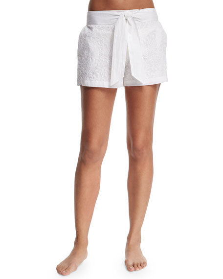 Florabella AQUILA EMBROIDERED SHORTS W/WAIST TIE, WHITE