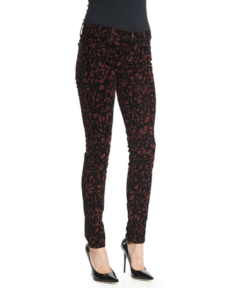 J Brand 620 Mid-Rise Super-Skinny Jeans, Mulberry Brocade