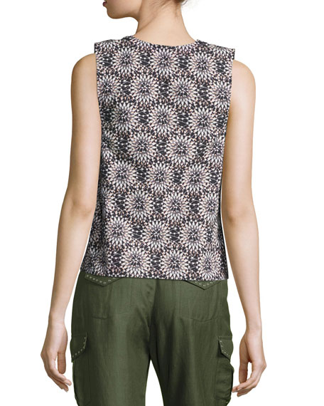 Sleeveless Side-Top Cotton Top, Black
