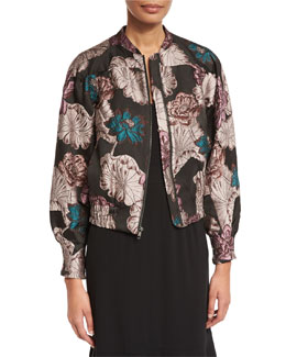 Floral Brocade Zip Bomber Jacket, Multi