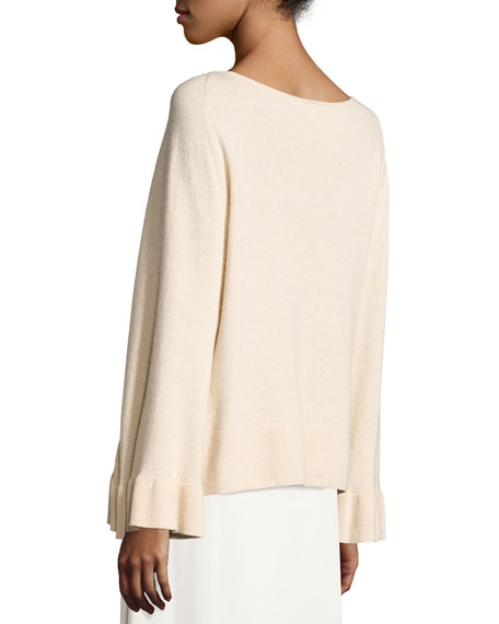 Freja Wool-Blend Flutter-Sleeve Sweater, Champagne
