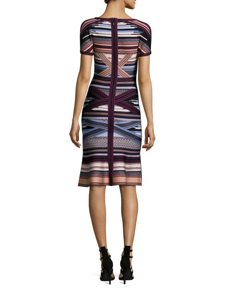 Short-Sleeve Ikat-Print Flounce Dress, Multi Colors