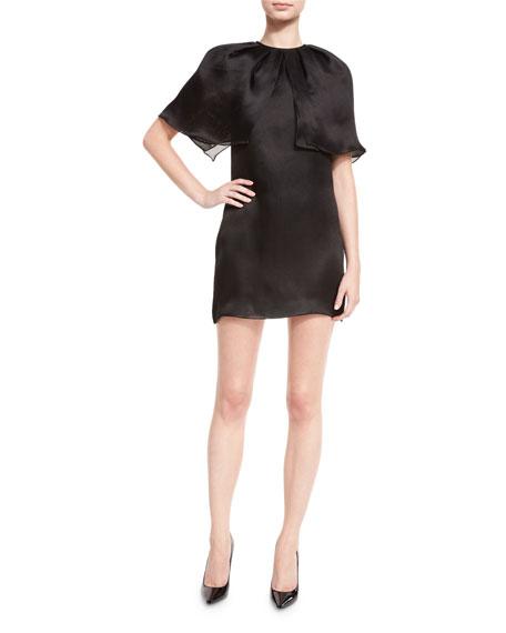 Silk Organza Capelet Mini Dress, Black