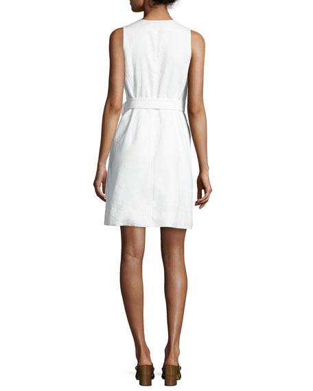 Sleeveless Belted Zip-Front Dress