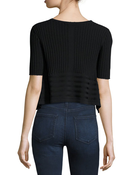 Linear Ribbed Crop Top, Black