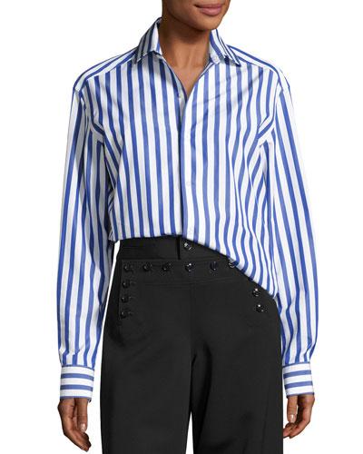 Capri Striped Cotton Blouse White