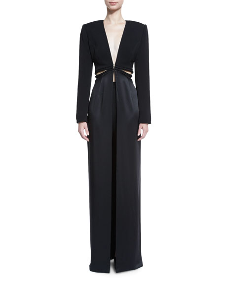 V-Neck Cutout-Waist Long Coat, Black