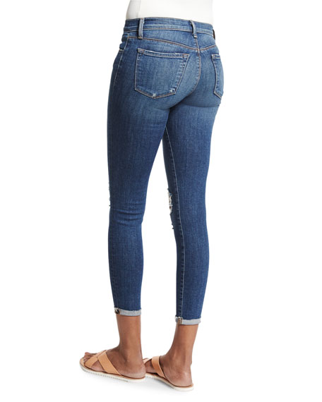 Breathless Mid-Rise Distressed Cropped Jeans, Blue