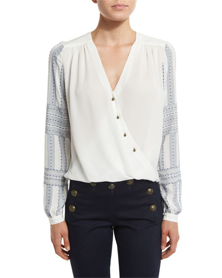 Long-Sleeve Silk Boho Surplice Blouse, Off White
