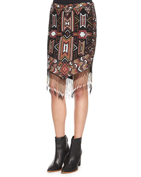 Haute Hippie Geometric Embellished Skirt w/Fringe, Multi Colors