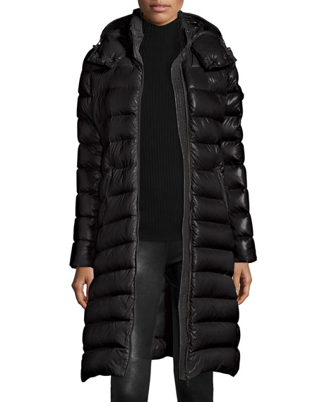 Moncler Long Shiny Quilted Down Coat, Black