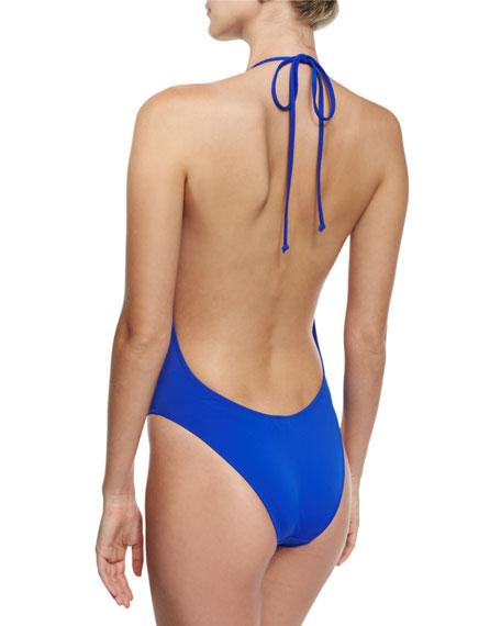 Gaeta Italian Solid Plunging One-Piece Swimsuit, Cobalt