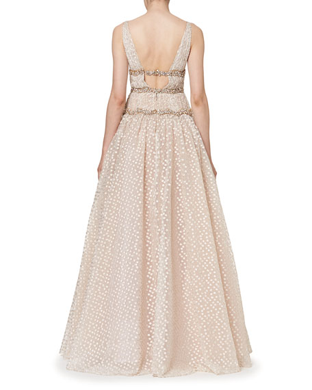 Sleeveless V-Neck Crystal-Waist Gown, Rose Gold