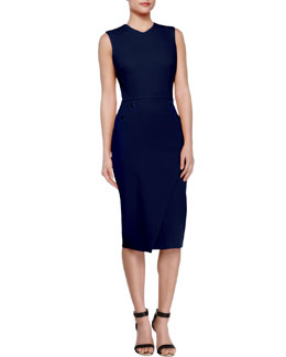 Studded Open-Back Bias-Slit Sheath Dress