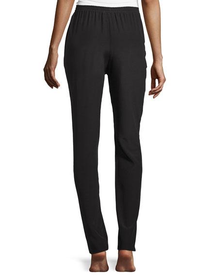 Slim-Leg Silk Trousers, Black