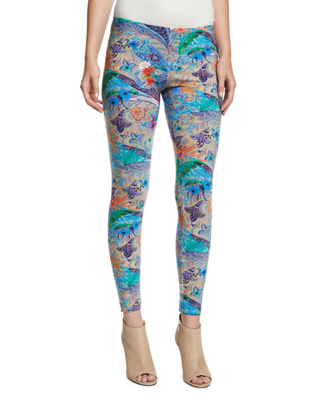Paisley-Print Low-Rise Leggings, Turquoise/Purple