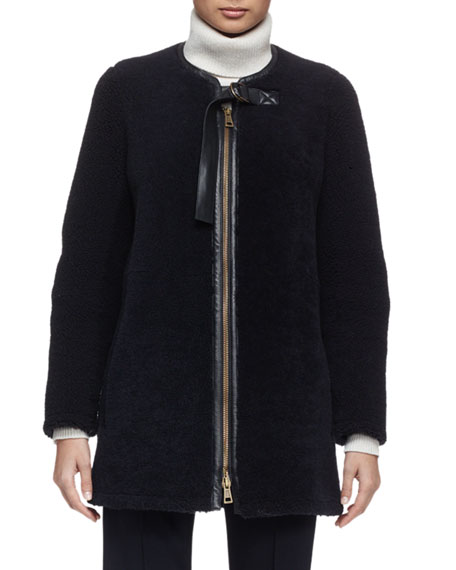 Chloe Iconic Aviator Zip-Front Shearling Coat, Navy
