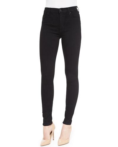 Barbara High-Rise Skinny Jeans, Black