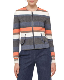 Faded Stripe Cotton-Blend Jacket, Multi