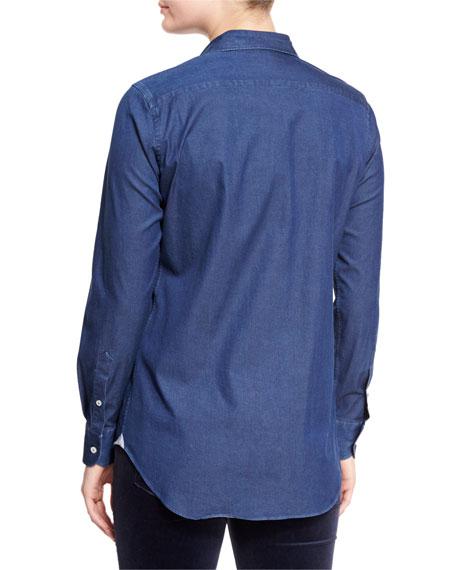 Kara Denim Button-Front Blouse, Insignia Blue
