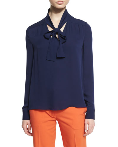 Britni Long-Sleeve Silk Tie-Neck Top, Midnight