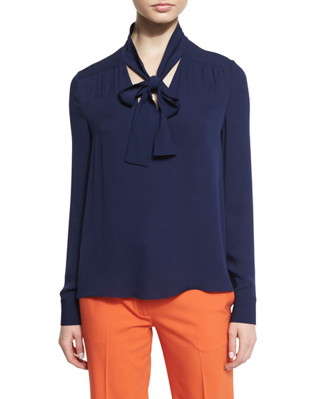 Diane von Furstenberg Britni Long-Sleeve Silk Tie-Neck Top,