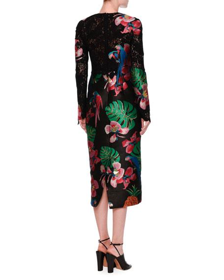 Lace & Brocade Long-Sleeve Dress, Black/Multi