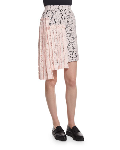 Lace Asymmetric-Pleated Pencil Skirt  Pink
