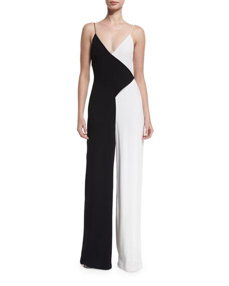 Colorblock Sleeveless V-Neck Jumpsuit, Black/White