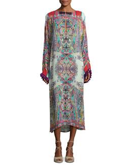 Printed Midi Dress w/Tassel Trim, Red Multi