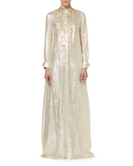Sequined Metallic Caftan, Ivory