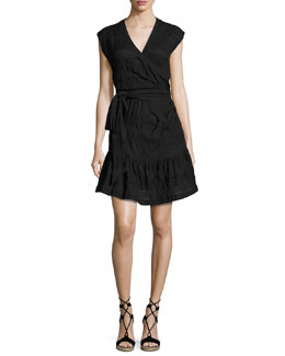 Shadow Shirred Wrap Dress, Black