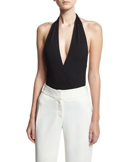 Bianca Ribbed Jersey Bodysuit, Black