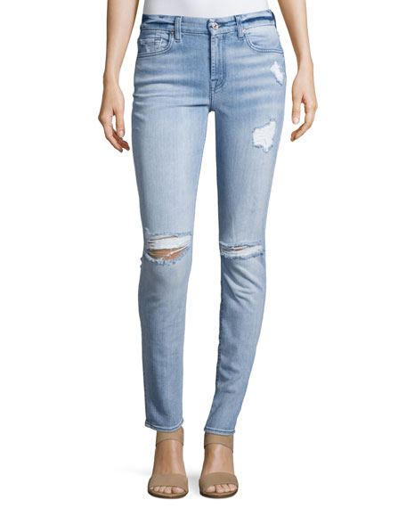 7 For All Mankind Destroyed Skinny Jeans, Bright