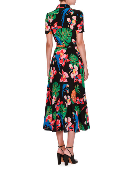 Tropical Dream Short-Sleeve Midi Shirtdress, Multicolor