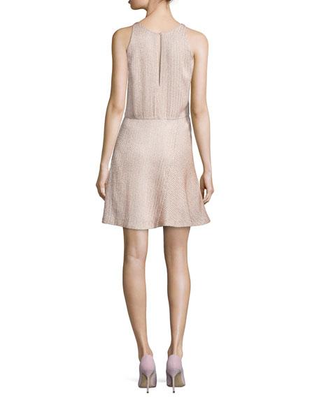 Sleeveless Embellished Fit-&-Flare Dress, Buff