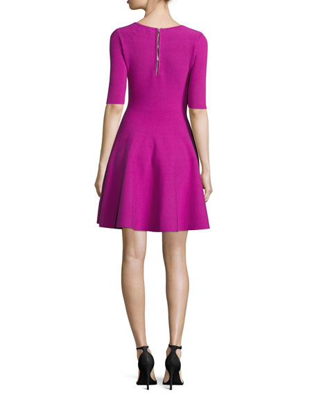 Half-Sleeve V-Neck Fit-&-Flare Dress, Fuchsia