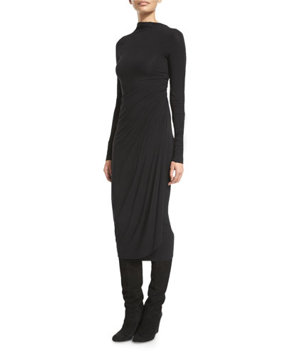 Long-Sleeve High-Neck Jersey Dress, Black