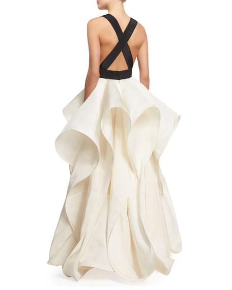 Foxglove Sleeveless Silk Faille Gown