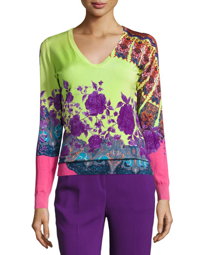 Stampa Paisley V-Neck Sweater, Lime/Purple