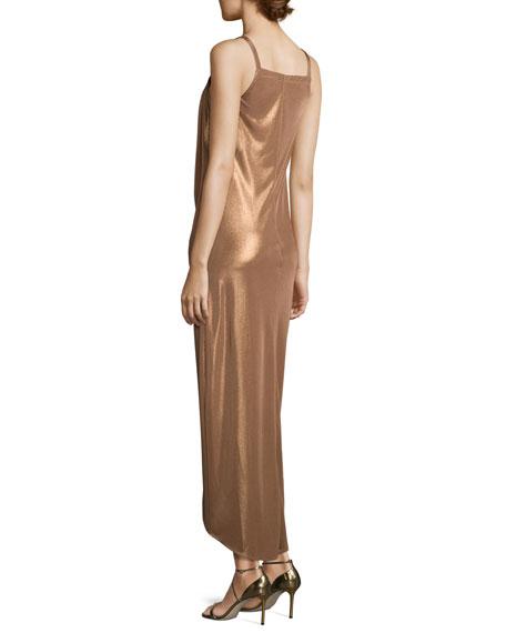 Sleeveless Square-Neck Draped Jersey Dress, Dark Beige