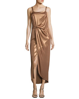 Sleeveless Square-Neck Draped Jersey Dress, Dark Beige