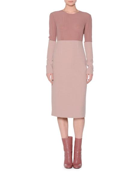 Colorblock Boucle Long-Sleeve Dress, Primrose