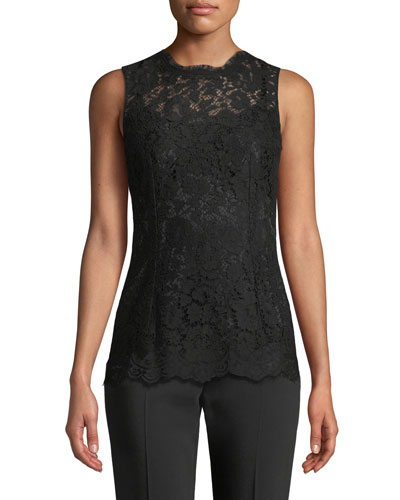 Crewneck Sleeveless Lace Shell Top
