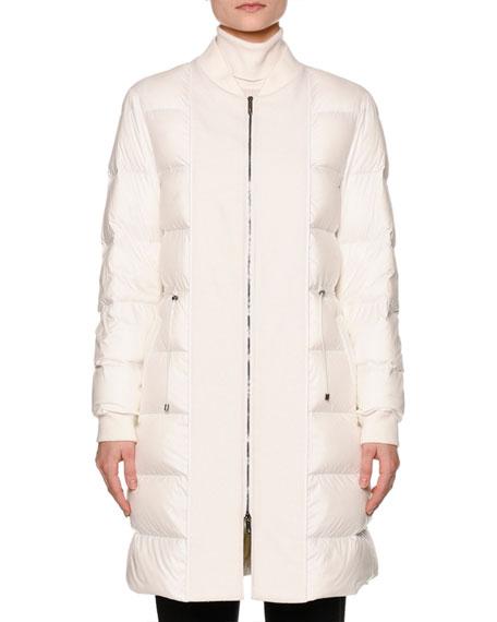 Callens Zip-Front Puffy Bomber Coat, Warm White