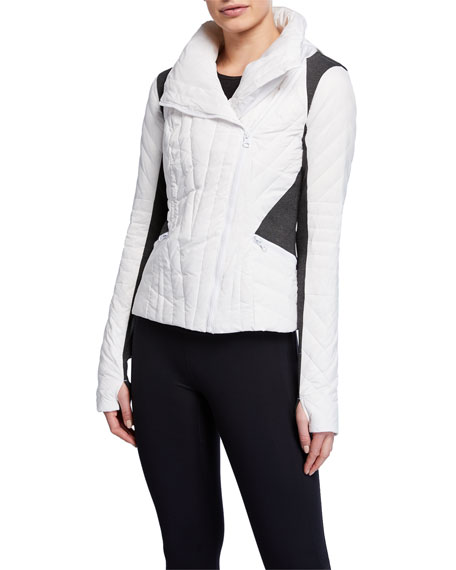 Motion Paneled Puffer Jacket, Black/Charcoal Heather