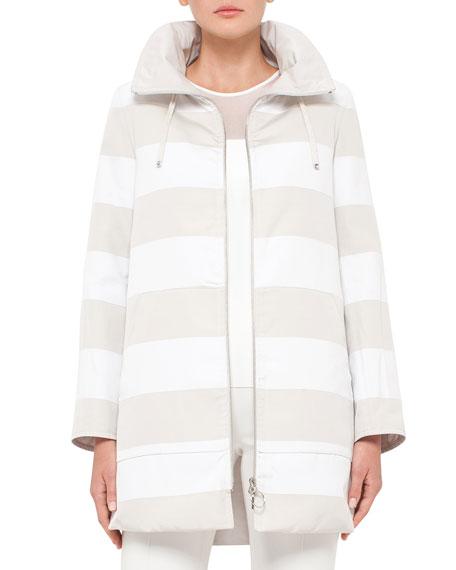Akris punto Reversible Striped Parka Jacket
