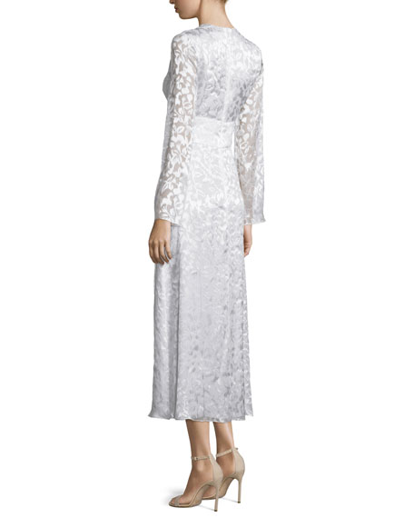 Long-Sleeve Plunging-Neck Midi Dress, Soft White